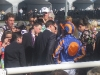 Trainer Aidan O'Brien talking with jockey Johnny Murtagh after the 7th place finish of Halfway To Heaven in the Filly & Mare Turf at the 2008 Breeders' Cup, as the trainer's son Joseph listens in intently.